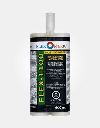 FLEX-1100 Wall Crack Repair Resin - Mid-Range Viscosity Polyurethane - Crack Width: 5/16  Wide Cracks and Wider