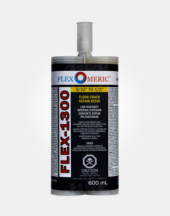 "FLEX-1300 Floor Crack Repair Resin - Low Viscosity Polyurethane - Crack Width: 3/32"" to 1/2"""