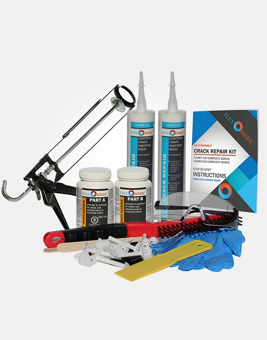 "DIY FLEXKIT-200 Complete Crack Repair Kit - Hairline to 1/16"" Wide Cracks"