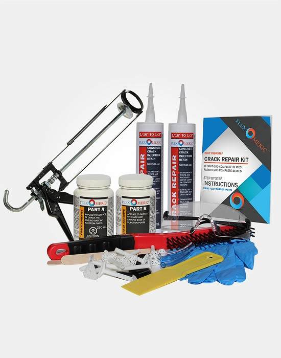 Complete diy concrete foundation crack repair kit diy flexkit 100 complete crack repair kit 116 to 1 solutioingenieria Image collections