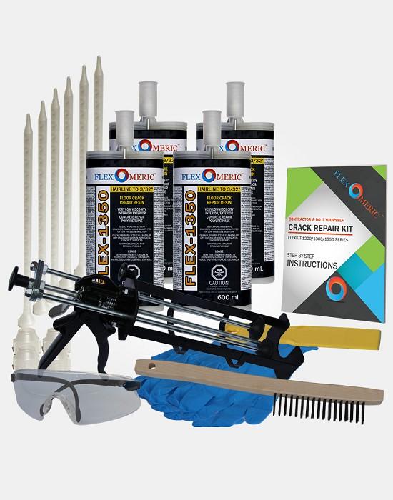 Do it yourself concrete foundation crack repair kit flexomeric 40 ft floor crack repair kit hairline to 116 wide cracks solutioingenieria Images